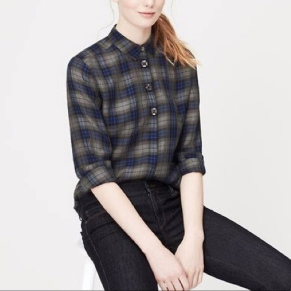 035380ca00683 LOFT Tops | Ann Taylor Plaid Top With Jeweled Buttons | Poshmark